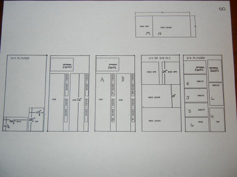 Layout of parts and cuts on wood boards